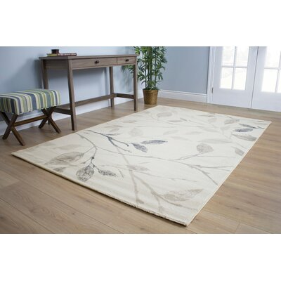 Pottsgrove Gentle Leaves Cream/Tan Area Rug Rug Size: 53 x 77