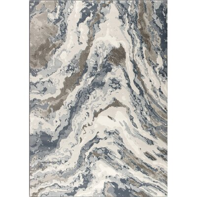 Lilith Rushing Water Beige/Blue Area Rug Rug Size: 53 x 77