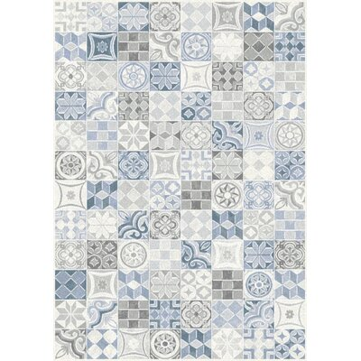Montgomery Quilted Symbols Blue/Cream Area Rug Rug Size: 53 x 77
