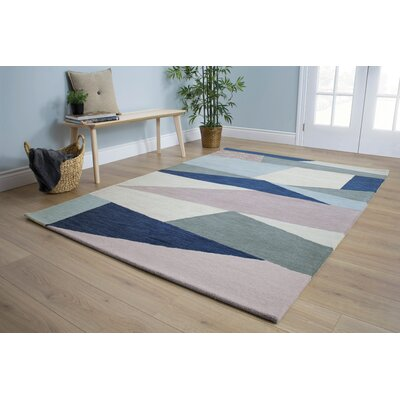Christiana Shards of Glass Gray/Blue Area Rug Rug Size: 53 x 77