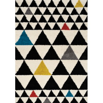 Bunderberg Rubix Triangle Soft Touch Black Area Rug Rug Size: 5'3
