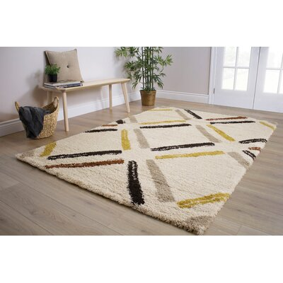Delgadillo Tiles Soft Touch Cream Area Rug Rug Size: 53 x 77