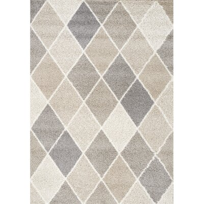 Kaelyn Muted Diamonds Beige Area Rug Rug Size: 53 x 77