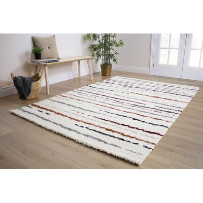 Kaelyn Hazy Lines Red/Cream Area Rug Rug Size: 53 x 77