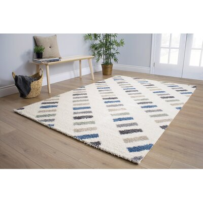 Kaelyn Rectangles Blue/Cream Area Rug Rug Size: 53 x 77