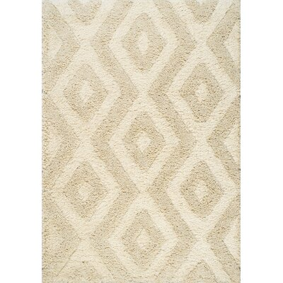 Nataly Diamond Luxurious Shag Cream Area Rug Rug Size: 53 x 77