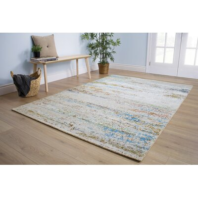 Billerica Distressed Lines Gray/Blue Area Rug Rug Size: 710 x 1010