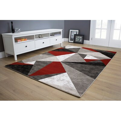 Mariam Triangles Red/Gray/Black Area Rug Rug Size: 53 x 77