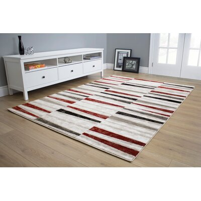 Mariam Stripes Red/Black/Gray Area Rug Rug Size: 53 x 77