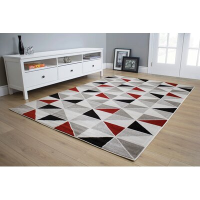 Mariam Geometric Gray/Black/Red Area Rug Rug Size: 53 x 77