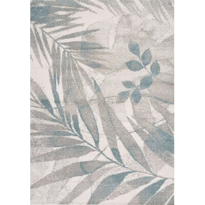 Polonius Vine Leaves Gray/Blue Area Rug Rug Size: 53 x 77
