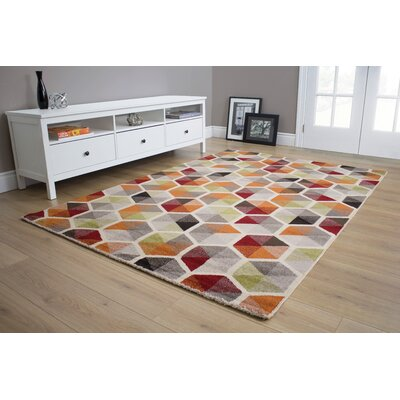 Greve Multi Honeycomb Red Area Rug Rug Size: 53 x 77