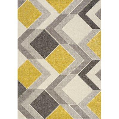 Wesley Cube Gray/Yellow Area Rug Rug Size: 53 x 77