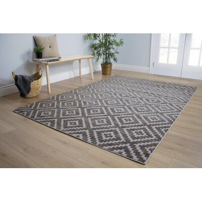 Sampson Diamonds Gray Area Rug Rug Size: 53 x 77