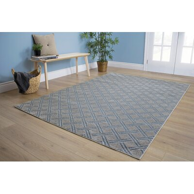 Giovanna Geometric Gray/Blue Area Rug Rug Size: 53 x 77
