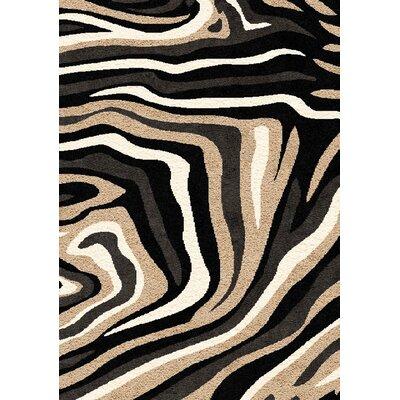 Aldovin Beige/Black Area Rug Rug Size: 53 x 77