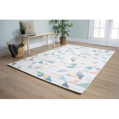 Burchell Quilted Pastels Cream Area Rug