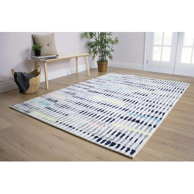 Burchell Pastel Pop of Colour Gray/White Area Rug