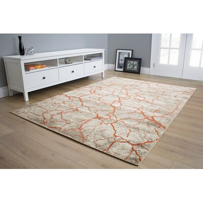 Larry Cracking Surface Beige Area Rug Rug Size: 53 x 77
