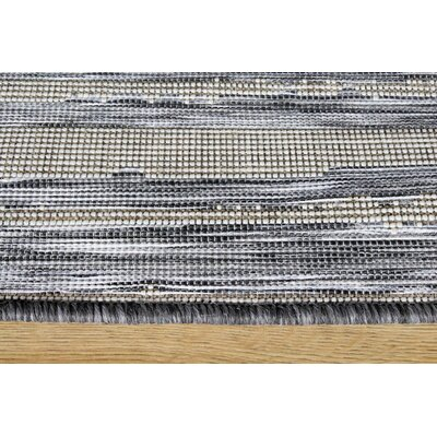 Memphis Stattic Stripes Outdoor Gray Area Rug Rug Size: 53 x 77
