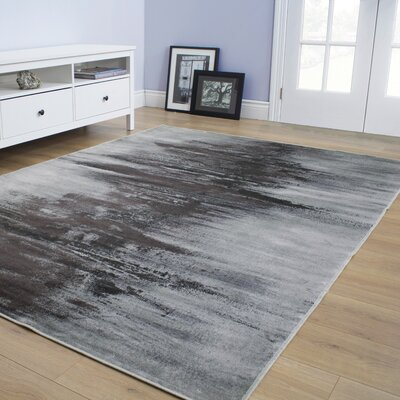 Basil Centred Resolution Gray Area Rug Rug Size: 67 x 910