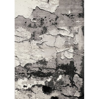 Julee Cracked Surface Gray/Black Area Rug Rug Size: Rectangle 53 x 77