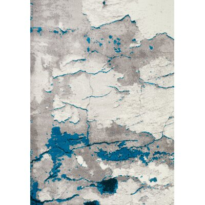 Julee Cracked Surface Gray/Blue Area Rug Rug Size: Rectangle 53 x 77