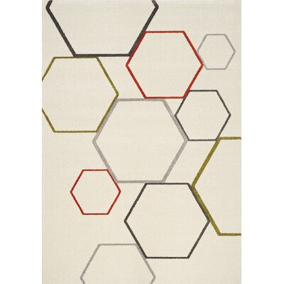 Woodson Mixed Hexagons Gray/Cream Area Rug