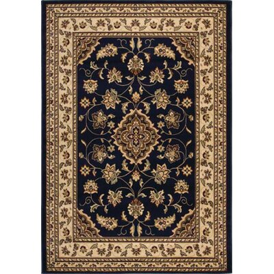 Cloudview Dark Elegance Bordered Blue Area Rug Rug Size: Rectangle 710 x 1010