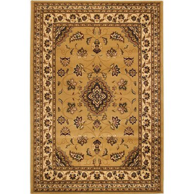 Cloudview Elegance Bordered Yellow Area Rug Rug Size: Rectangle 710 x 1010
