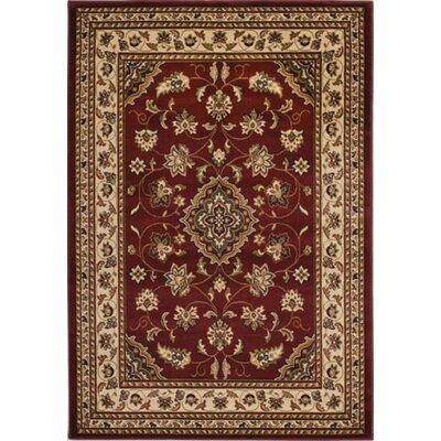 Cloudview Elegance Bordered Red Area Rug Rug Size: Rectangle 53 x 77