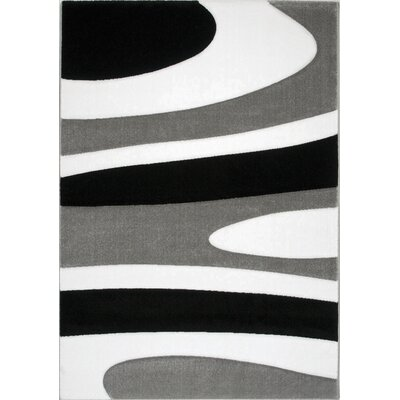 Tantris Neutral Swirls Black/White Area Rug