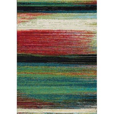 Devlyn Brushstrokes Green/Red/Black Area Rug