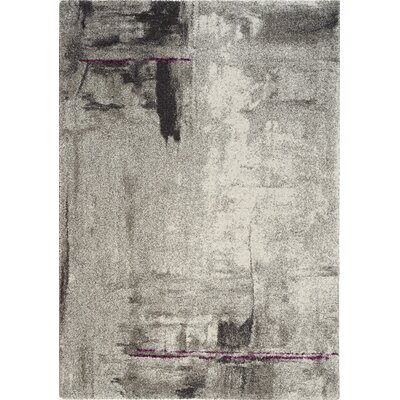Aubuchon Stroke of Abstract Gray Area Rug Rug Size: 53 x 77