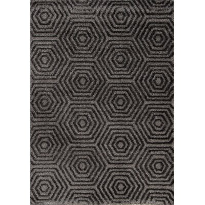 Gilkes Glitz Low Pile Dark Grey Geometric Area Rug Rug Size: 710 x 1010