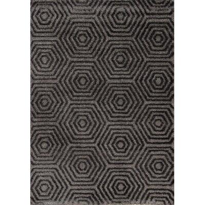 Gilkes Glitz Low Pile Dark Grey Geometric Area Rug Rug Size: 53 x 77