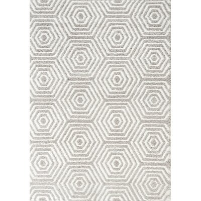 Gilkes Glitz Low Pile Light Grey/White Geometric Area Rug Rug Size: 53 x 77