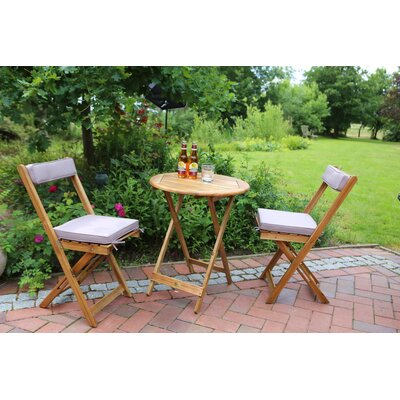 2-Sitzer Balkonset San Marino mit Polster | Garten > Balkon > Balkon-Sets | Naturalbrown | Holz - Akazienholz - Rattan - Polyester | Destiny