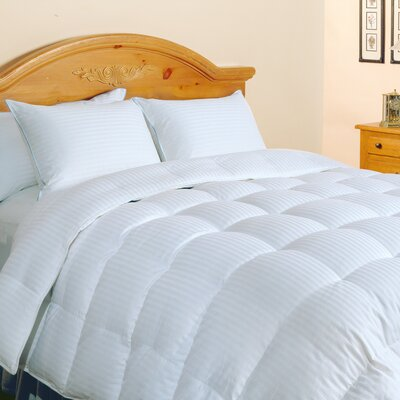 500 Thread Count Damask Stripe Silk and Cotton All Season Down Comforter Size: Full/Queen