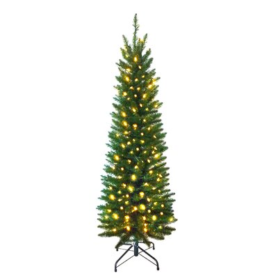 Snowtime 7' Green Pre-Lit Pencil Pine Artificial Christmas Tree with 300 Clear Lights