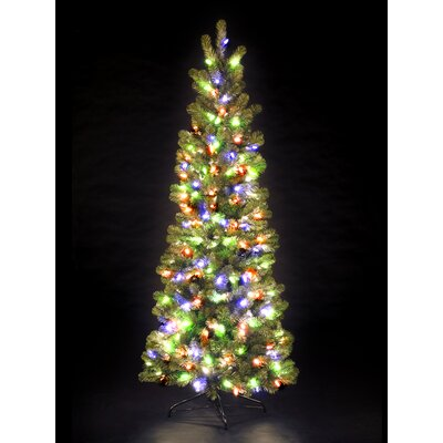 Snowtime 7' Green Pre-Lit Pencil Pine Artificial Christmas Tree with 300 Color Lights