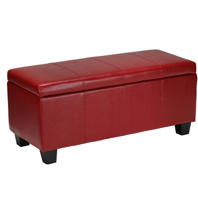 Vera Leather Cocktail Ottoman Upholstery: Red