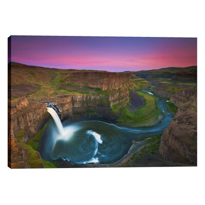 "Palouse Falls By Jesse Estes Photographic Print On Wrapped Canvas Size: 26"" H X 40"" W"