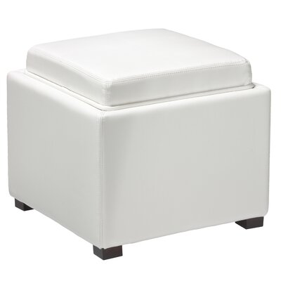Newfield Tray Top Storage Ottoman Upholstery: White