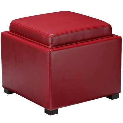 Mavi Tray Top Storage Ottoman Upholstery: Red