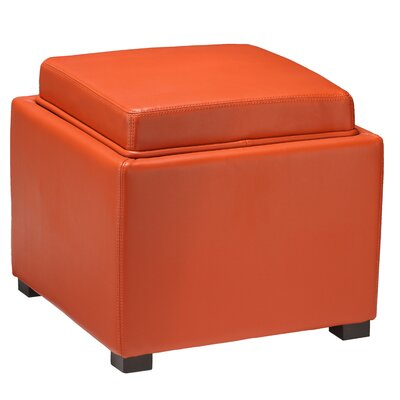 Mavi Tray Top Storage Ottoman Upholstery: Orange