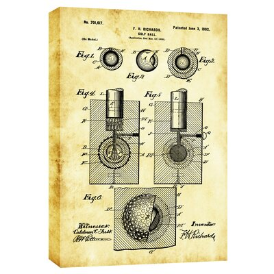 Golf Ball Vintage Patent Blueprint Graphic Art on Canvas CH-CA1218177