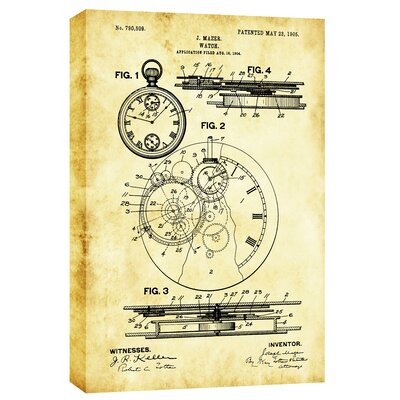 Stopwatch Vintage Patent Blueprint Giclee Graphic Art on Canvas CH-CA1218180
