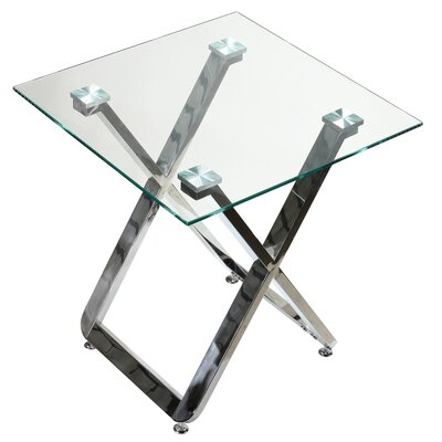 Yan Square Glass End Table