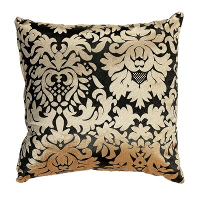 Dama Damask Accent Throw Pillow Color: Gold